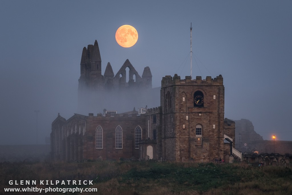 The Harvest Moon Rising At Whitby. The harvest moon was so named as it was a source of light that allowed farmers to continue working into darkness once the sun had set.