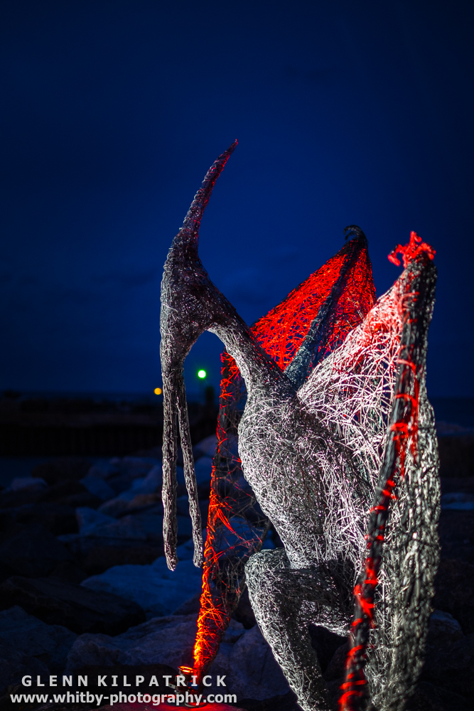 Boulby Pterodactyl - Emma Stothard At Staithes Arts Festival . Lights By Mick Stephenson Light Fantastic