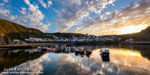Reflections At Sunset - Staithes Harbour