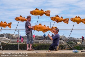 Steve Iredale's Shoal of Fish - ChainSaw Wood Sculptor - Staithes Arts And Heritage Weekend 2016