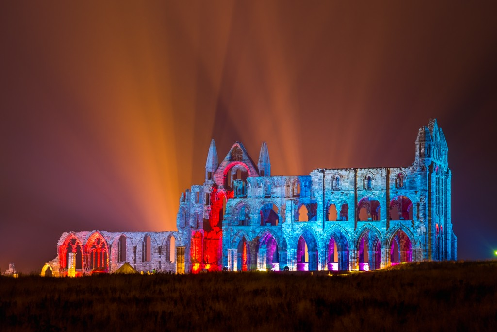 The Illuminated Abbey At Whitby - Lit Beautifully In Amazing Colours