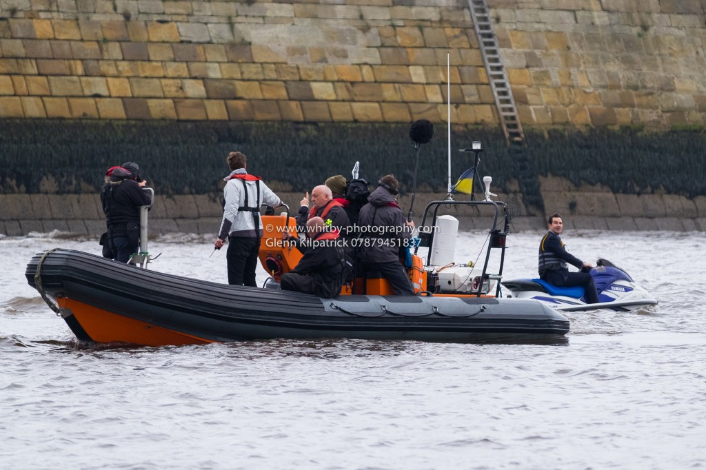 Jimmy Carr On A jetski In Whitby Harbour