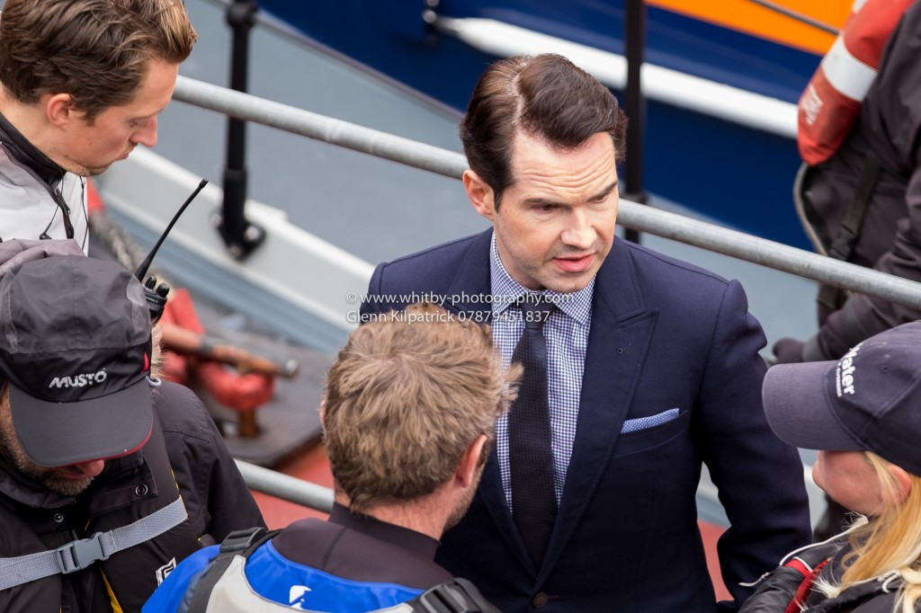 Jimmy Carr Comedian In Whitby For The Grand Tour. Pictured with crew at Whitby Lifeboat Shed.