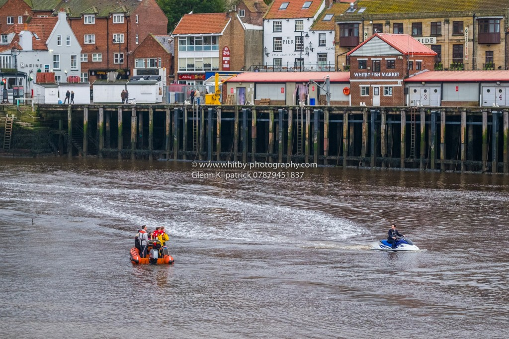 Jimmy Carr On A Jet Ski In Whitby Harbour. Jeremy Clarksons Grand Tour Filming For Amazon Prime.