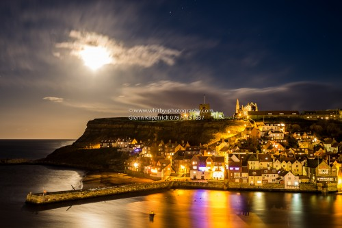 Whitby Scenes At Christmas - The full moon of Christmas Eve 2015 lights the town with a beautiful glow.