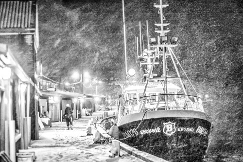 Safety Of The Harbour. Whitby Trawler In A Blizzard.