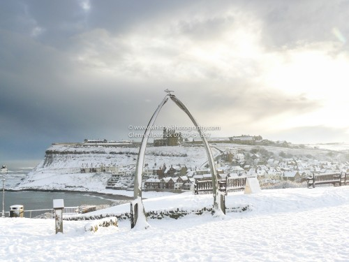 Whitby Whalebones In Winter Snow. Whitby Christmas Cards By The Whitby Photographer Glenn Kilpatrick