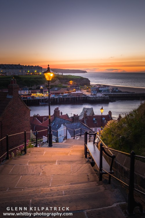 The 199 Steps Looking across Whitby harbour with Sandsend in the distance.