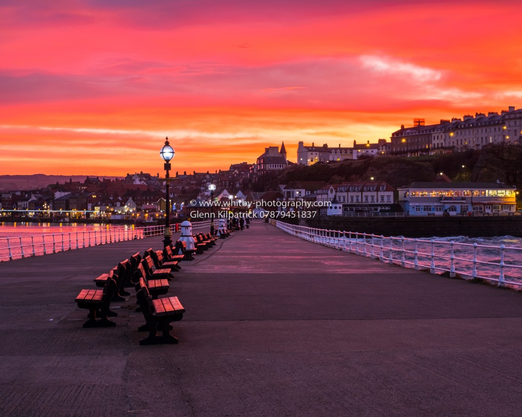 Winter Sunset At Whitby West Pier