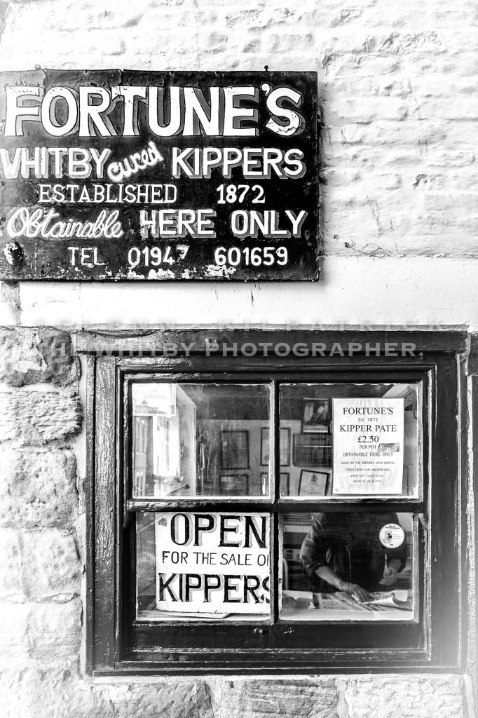 Look through the window and Barry is wrapping some more of those Famous Whitby Kippers at Billy Fortunes On Church Street