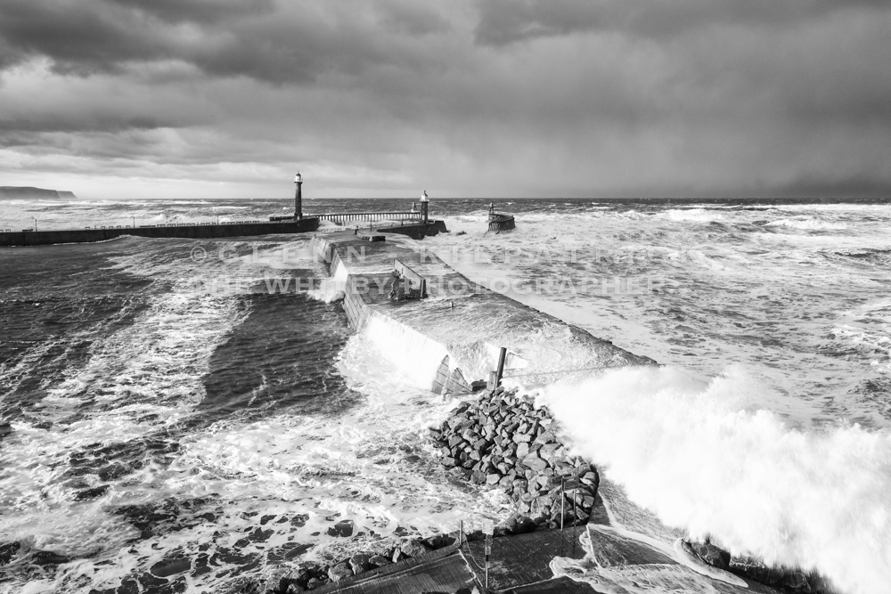 Whitby Storm Surge In Black And White, Taken From The Haggerlythe
