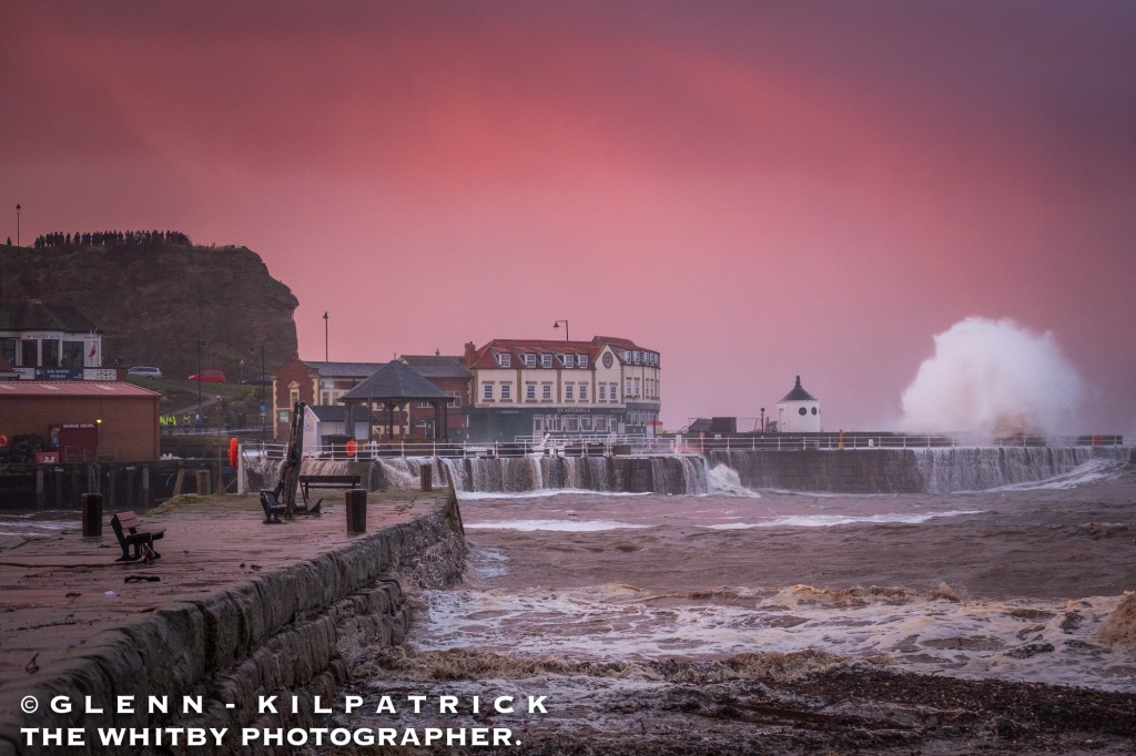 Whitby Storm Surge And Flooding - 2017 - Waves Batter Whitby With Onlookers On The Cliff Top