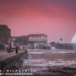 Whitby Storm Surge And Flooding - 2017Waves Batter Whitby With Onlookers On The Cliff Top