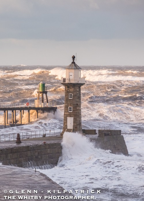 Whitby Storm Surge 217. Huge Waves Run Through Whitby West Pier