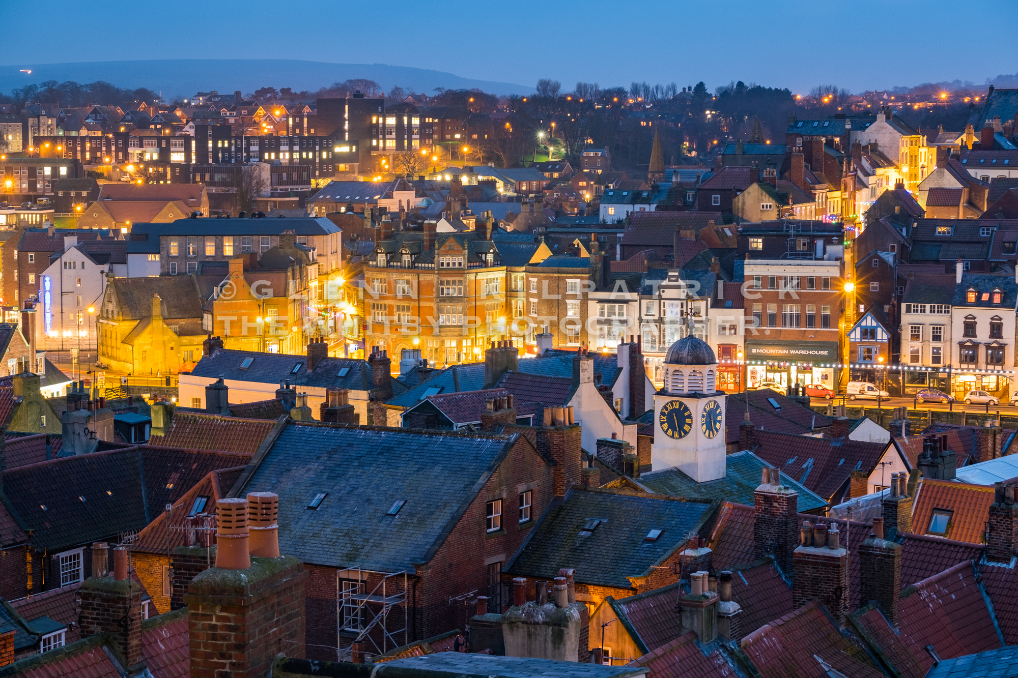 A running view across Whitby at dusk.