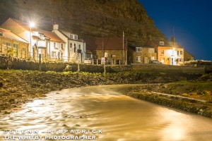 Staithes Beck with Cowbar Cottages Lifeboat Shed. Taken from under the bridge between Staithes And Cowbar Villages.