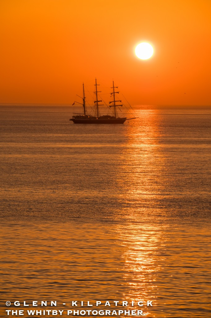 A Whitby Sunrise - The Lord Nelson Sailing Ship At Anchor Off Sandsend