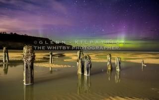 The Northern Lights At Sandsend Beach Groynes Near Whitby