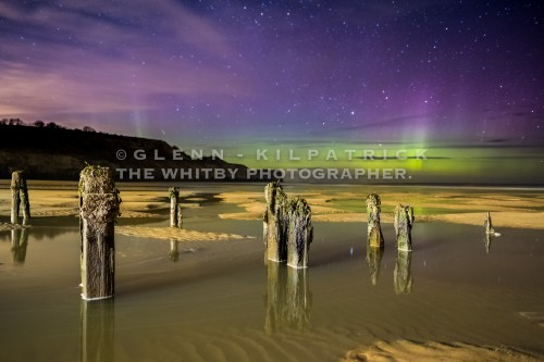 The Northern Lights At Sandsend Beach Groynes Near Whitby