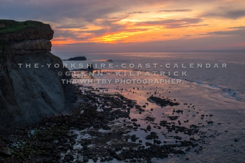 Saltwick Bay Midsummer Sunset Taken From Whitby Highlight. The Yorkshire Coast Calendar 2018 By Glenn Kilpatrick