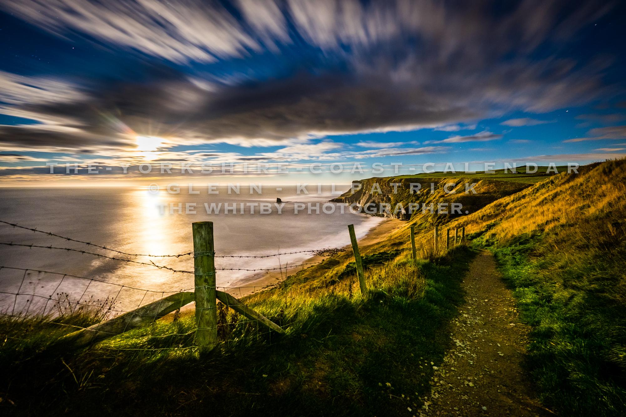 Full Moon Rising At Saltwick Bay - The Yorkshire Coast Calendar 2018 By Glenn Kilpatrick.