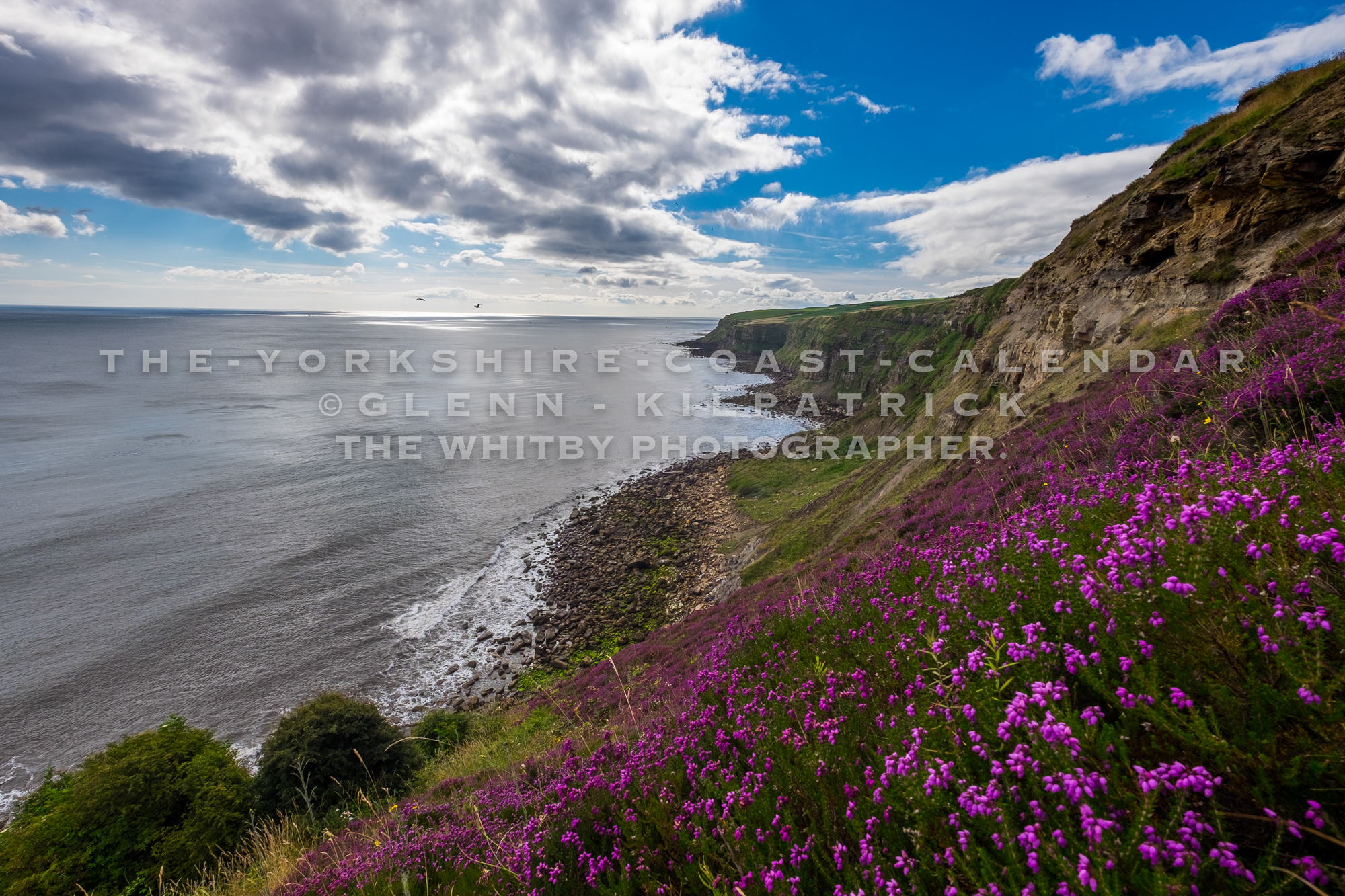 Heather Covered Cliffs At Hawsker Bottoms On the Stunning Cleveland Way - The Yorkshire Coast Calendar 2018 By Glenn Kilpatrick.