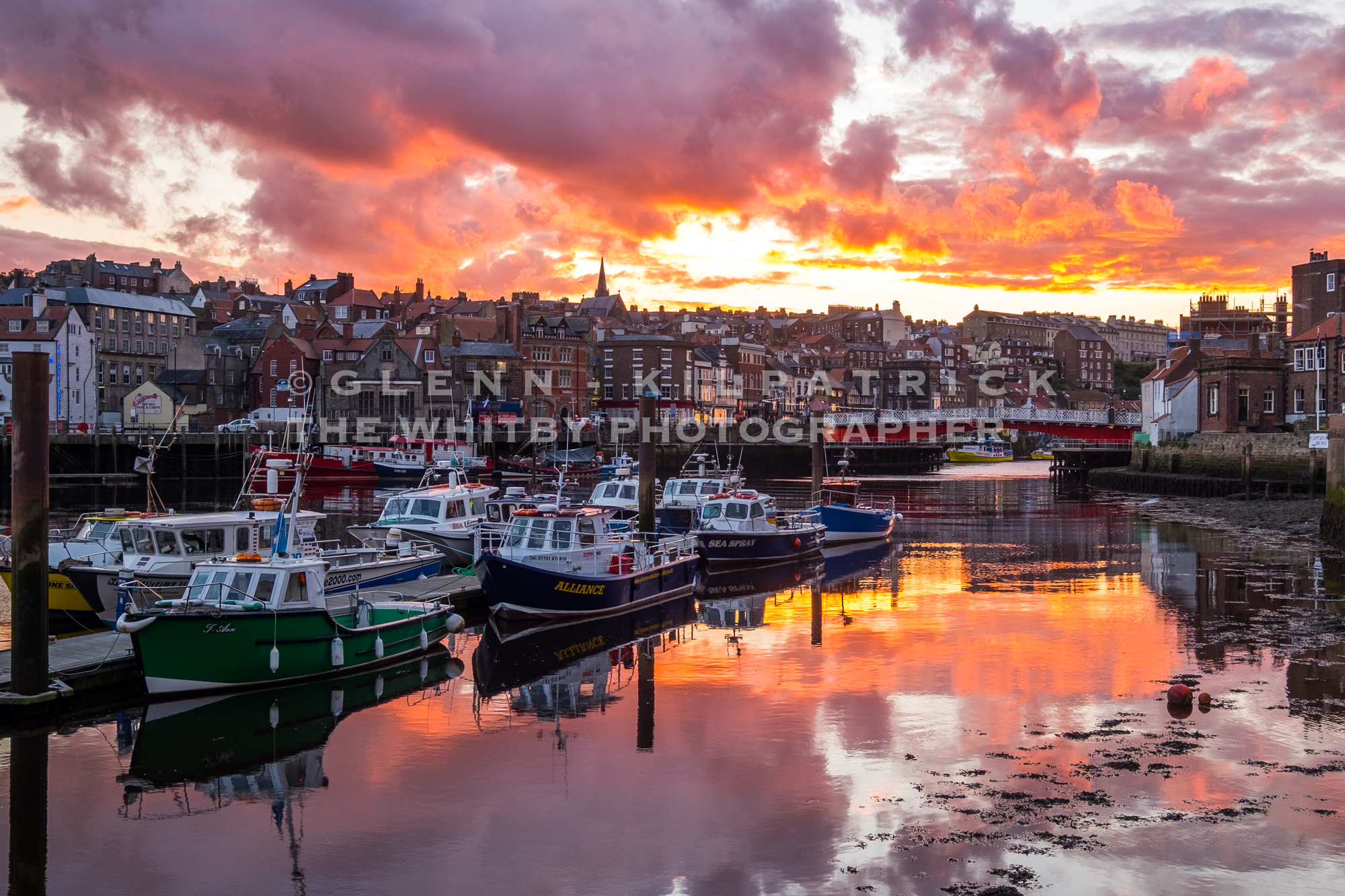 Whitby Harbour Sunset At Whitby Charter Boat Pontoon