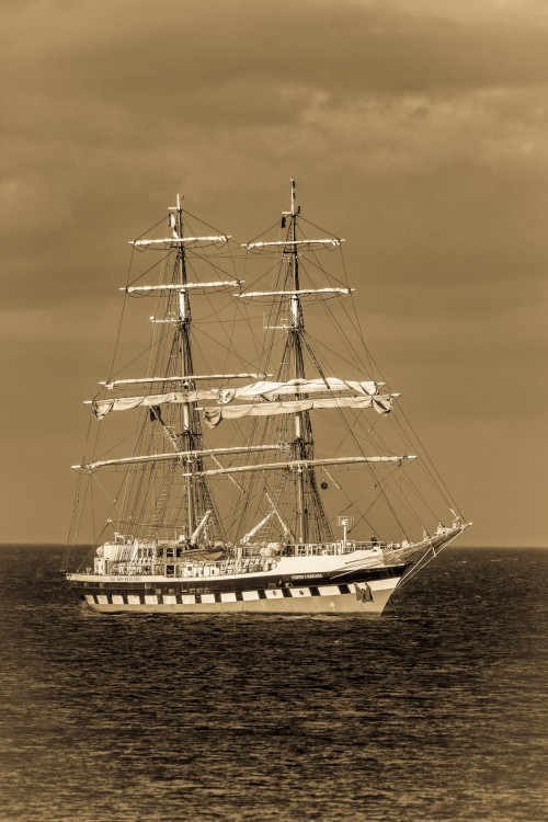 Stavros Tall Ship In Sepia - Sandsend June 2017