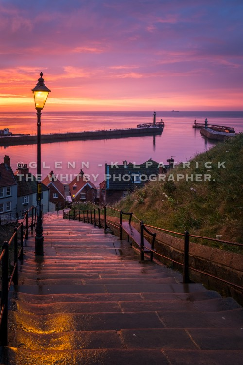 Whitby 199 Steps At Sunset In May 2017