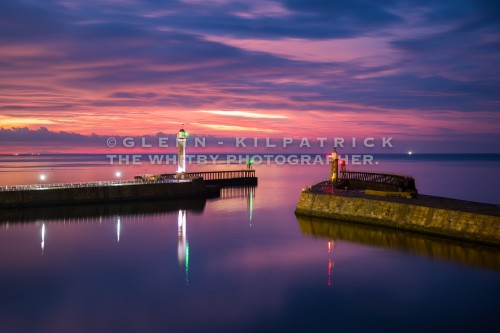 Sunset At Whitby Piers May 2017
