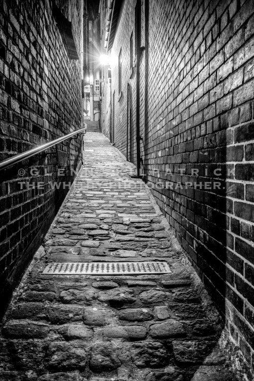 St Annes Lane Whitby In Black And White