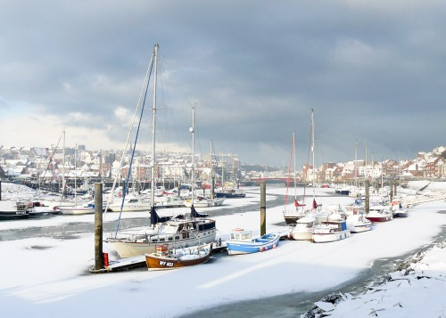Whitby Christmas Cards - A Frozen River Esk At Whitby