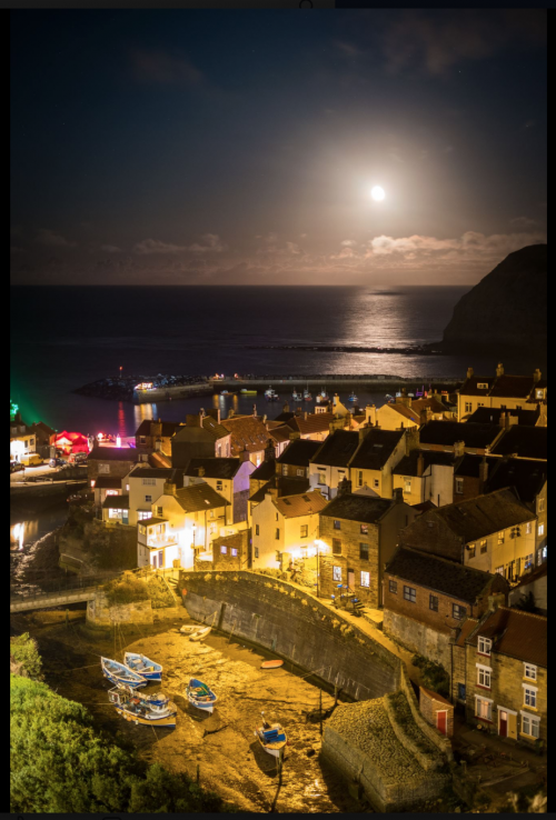 Moonrise Over Staithes During The Arts Festival Weekend Of 2017
