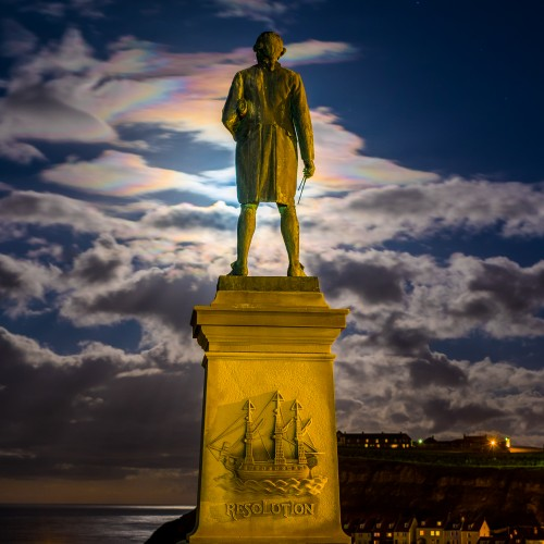 Captain Cook With Rainbow Clouds
