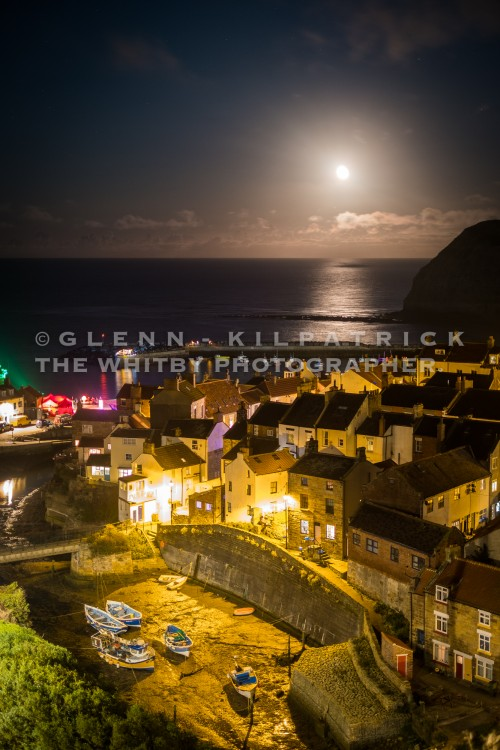 Moonrise Over Staithes. Taken From Cowbar Bank.