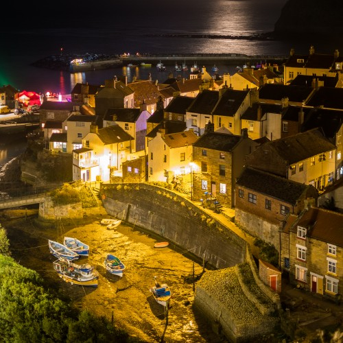 Staithes In The Moonlight - Square Canvases