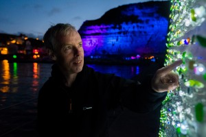 Back Lit Seaglass Looked awesome with Staithes in the background.