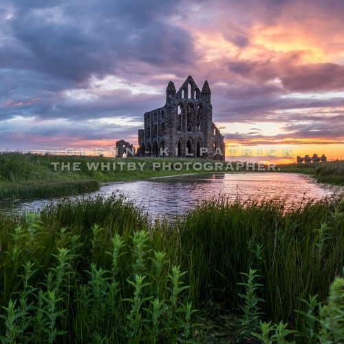 Whitby Abbey Sunset Square Canvas