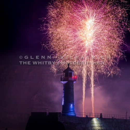 Whitby East Pier Lighthouse With Fireworks
