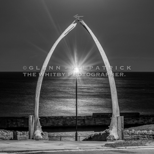 Whitby Whale Bones Moonrise In Black And White