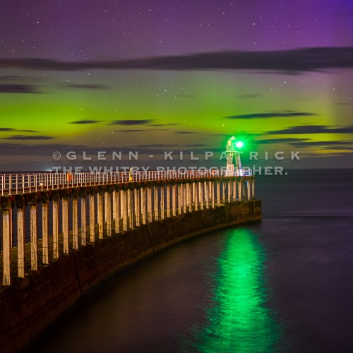 The Northern Lights At Whitby West Pier