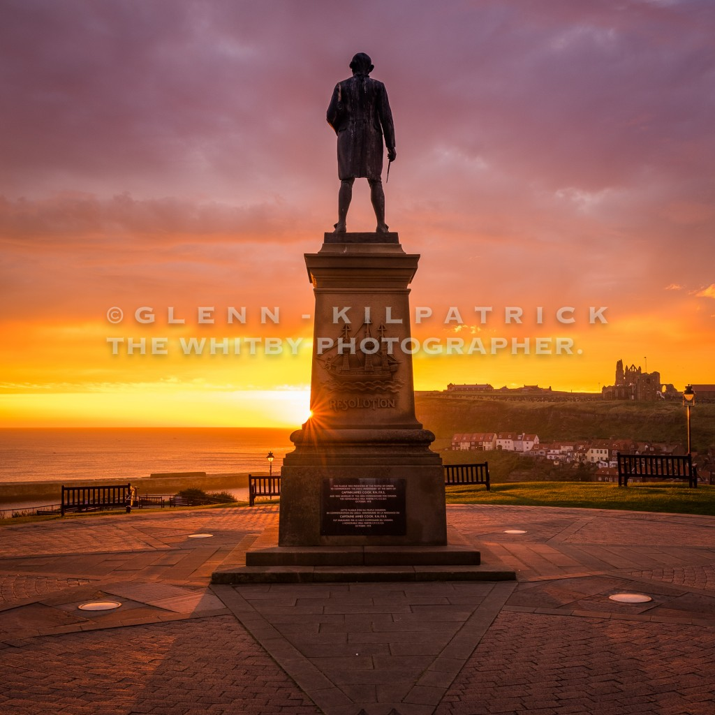 Captain Cook Sunrise At Whitby - September 2017 Square Canvas