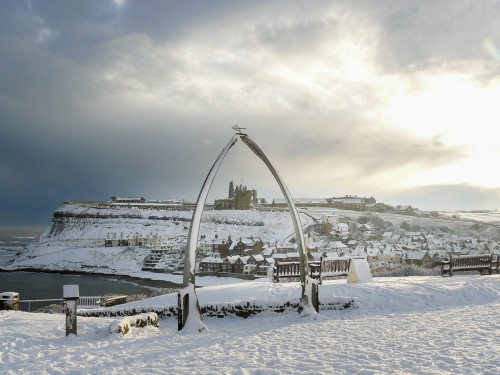 Christmas Snow At Whitby Whale Bones - Whitby Christmas Cards