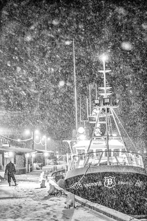 Whitby Trawler In the Snow