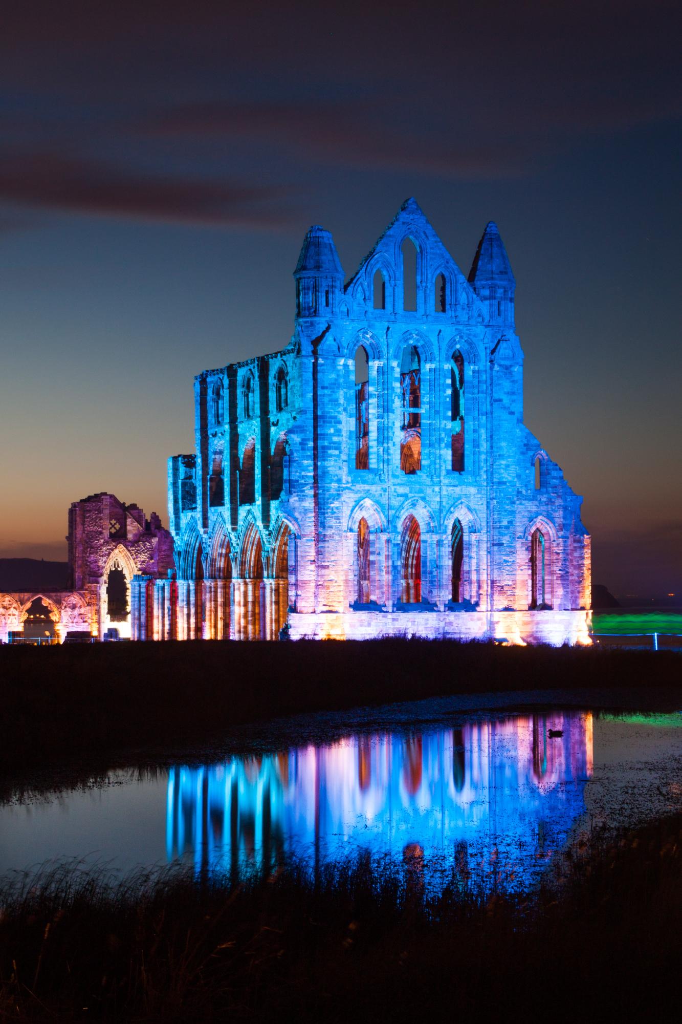 Whitby Illuminated Abbey Greetings Card Blue