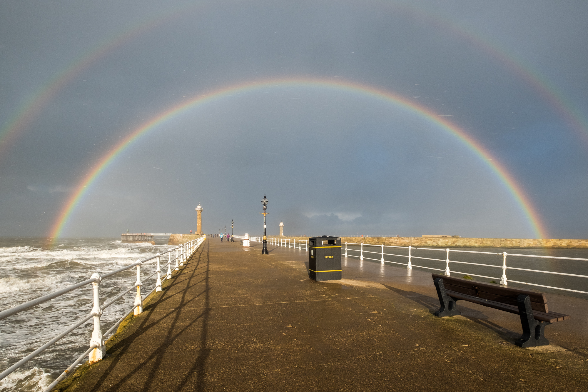 Double Rainbow Over Whitby Piers. November 2017