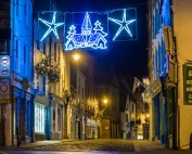 Church Street At Christmas. A5 Whitby Christmas Card.