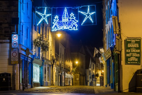 Church Street At Christmas. A5 Whitby Christmas Card.