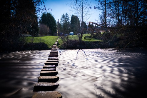 Lealholm Stepping Stones Lit By A Full Moon in March 2017