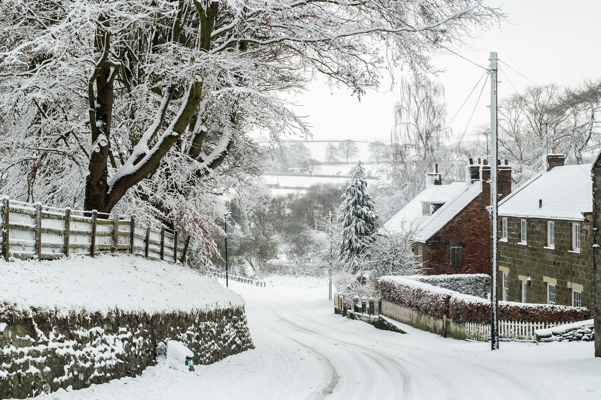Ainthorpe Village Snow Scenes Danby North York Moors A5 Christmas